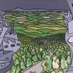 Cidade x Campo – Óleo sobre tela, 1,20 x 0,80 m – 1968. Acervo do artista.