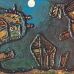 Luar na Favela – Técnica Mista, 1,00 x 0,80 m – 1966. Acervo do artista. Obra premiada com a Medalha de Prata no Salão Paulista de Arte Contemporânea.