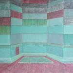 Apartamento com pequena entrada a área verde – óleo sobre tela, 1,20 x 0,80 m – 1979. Acervo do artista.
