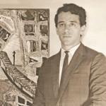 Aldir ao lado de um de seus trabalhos. São Paulo, 1966.