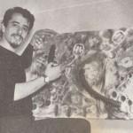 1966. Aldir Mendes de Souza durante a montagem de exposição no MAB-FAAP.