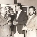 1983. Pietro Maria Bardi, Odeto Guersoni e Aldir Mendes de Souza na exposição em homenagem a Bardi, então diretor do MASP