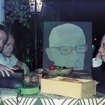Alberto Beuttenmüller, Arcângelo Ianelli e Paulo Mendes de Almeira durante gravação de depoimento para o livro Críticos x Artistas