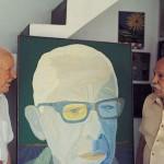 Alfredo Volpi e Hermelindo Fiaminghi durante gravação de depoimentos para o livro Críticos x Artistas