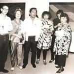 1985. Rubens Grassmann e Aldemir Martins durante a exposição Geo/Metria, de Aldir