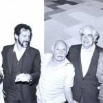 1985. Solange Mendes de Souza, Aldir, Hermelindo Fiaminghi, Mário Schemberg e Neide Bonfiglioli durante a exposição Geo/Metria