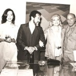 Solange Mendes de Souza, Aldir, Neide Bonfiglioli e Arcângelo Ianelli durante a exposição Geo/Metria