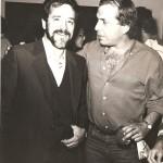 Aldir Mendes e Gustavo Rosa durante a exposição Geo/Metria, realizada por Aldir na galeria Bonfiglioli. São Paulo, 1985