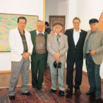 Aldir, Luiz Sacilotto, Hércules Barsotti, Salvatore Cinqüe e Arcângelo Ianelli durante exposição coletiva dos 4 artistas na Itália, 1990